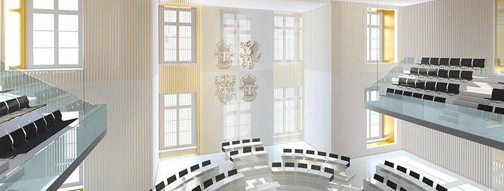 Planung des Plenarsaals im Schloss Schwerin